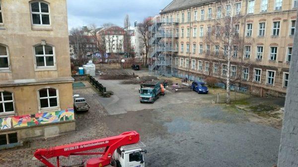 Im Hof des Gymnasiums wurden die Bäume gefällt. Inzwischen ist auch die Birke weg.