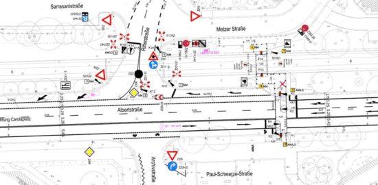 Die Skizze von der Albertstraße in Höhe der ehemaligen Fußgängerbrücke zeigt. Eine Fahrspur wird entfallen. Grafik: Stadtverwaltung