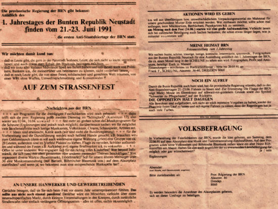 Aufruf zu den ersten Antistaatsfeiertagen der BRN von 1991