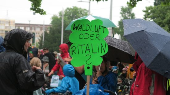 Mit Transparenten und Plakaten gaben die Demonstranten ihre Meinung kund.