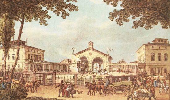 Leipziger Bahnhof Vorplatz - Kolorierter Stich von 1839