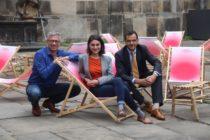 Hauptintiator Jörg Polenz (l.), Noura Dirani von den Staatlichen Kunstsammlungen und Großsponsor Christoph Gröner (CG-Gruppe stellen die neue Saison vor.