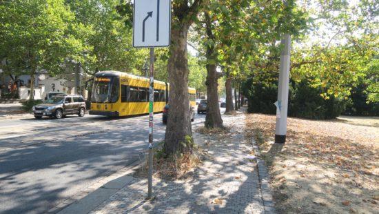 Auf der Bautzner in der Nähe des Albertplatzes fährt die Bahn noch ganz normal