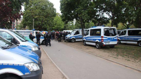Die Polizei überwachte die Veranstaltung.