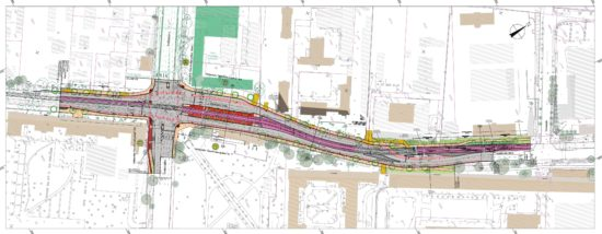 Plan zum Ausbau der Königsbrücker Straße in Höhe der Stauffenbergallee