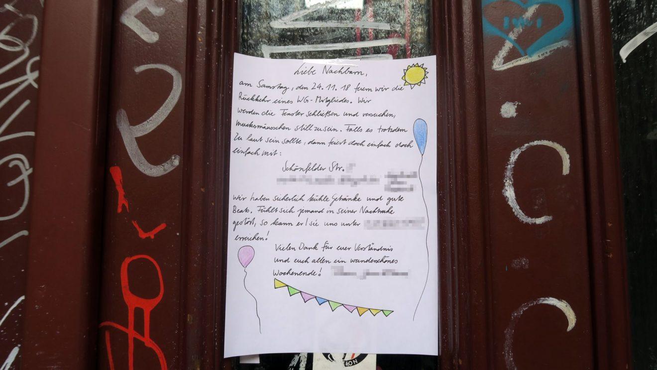 Freundliche Nachbarschaftsansprache