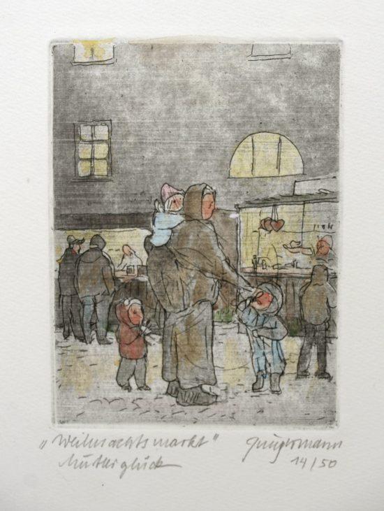 """""""Weihnachtsmarkt - Mutterglück"""" colorierte  Radierung 11,5 cm x 8,5 cm - Ulrich Jungermann"""