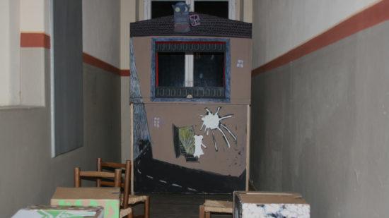 Das Kinderkino im Treppenkino ist schon fast fertig aufgebaut.