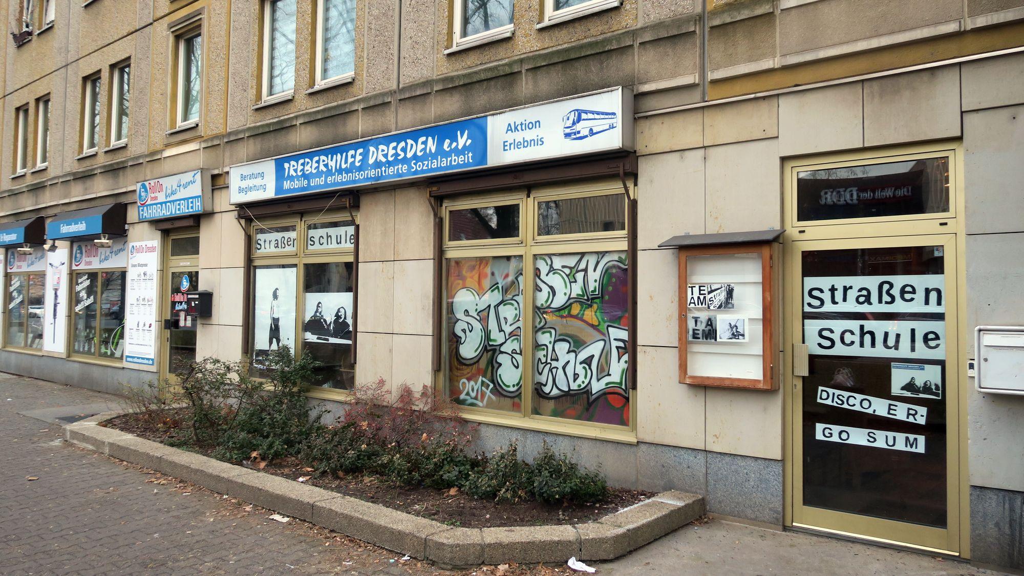 Die Straßenschule an der Königsbrücker Straße.