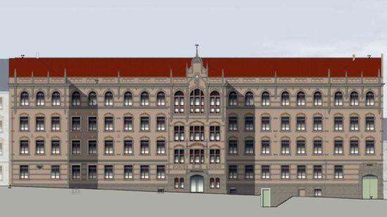 Straßenfassade Haus A - Visualisierung NBHG-Architekten