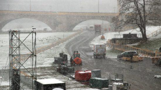 Vom gestrigen Schneetreiben konnte für die Piste nix genutzt werden.