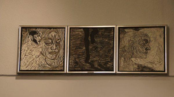 Grafische Arbeiten von Catrin Große in ihrem Ausstellungsraum