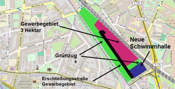 SPD-Vorschlag: Auf dem Gelände zwischen den Gleisanlagen sollen eine neue Schwimmhalle, eine Gewerbegebiet und Grünanlagen entstehen. Grafik: W. Schenk / openstreetmap