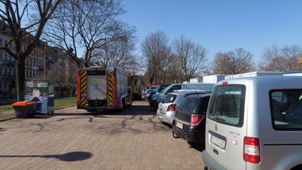Auch die Feuerwehr nutzte den großen Parkplatz.