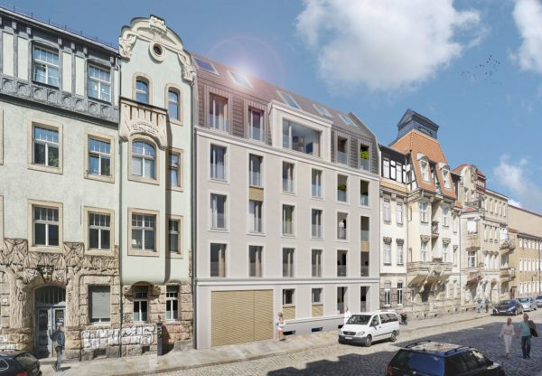 Aktualisierte Visualisierung - Projekt Katharinenstraße, Vorderseite - Architekturdarstellung: basisd GmbH