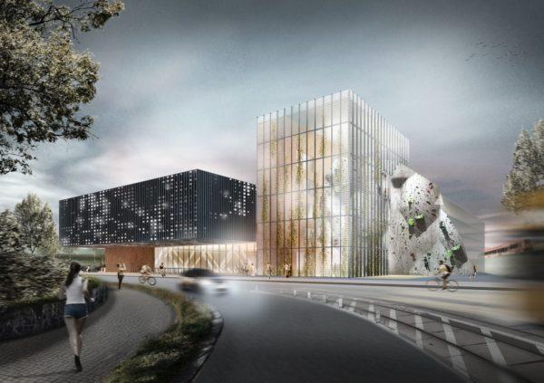 So könnte das Sportcenter von außen aussehen. Rechts im Bild die Kletterhalle. Visualisierung: Ipro