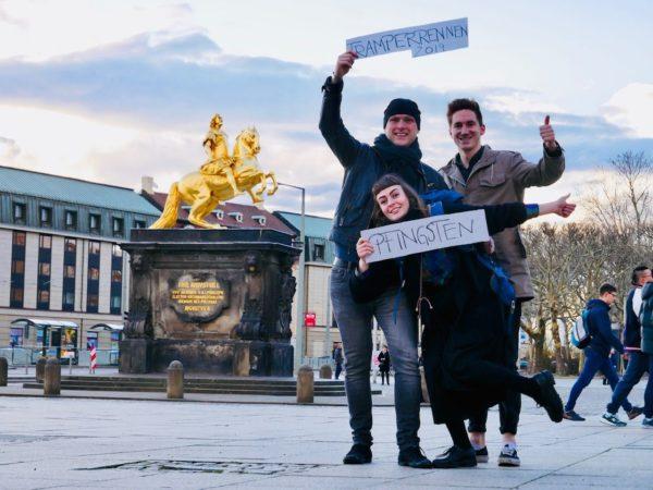Organisieren das Tramperrennen: Elisa Stahnke, Sebastian Kühn und Guido Droth