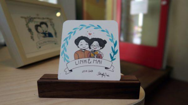 So kann eine Zeichnung aussehen, Selbstportrait von Mai mit Freund Linh