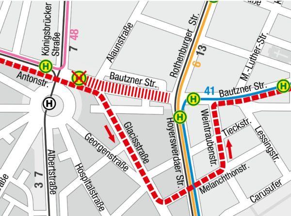 Verkehrsführung vom 6.7. bis 31.8.2019 in Richtung Bühlau Grafik: DVB