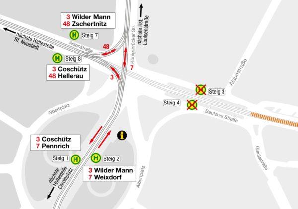 Haltestellenübersicht Albertplatz