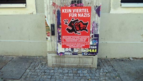 Mobilisierungsplakat: Kein Viertel für Nazis