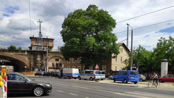Polizei ist schon vor Ort am Bischofsplatz