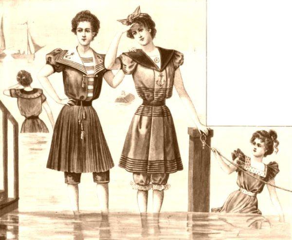 Badebekleidung für Frauen um die Jahrhundertwende. Foto: Wikimedia