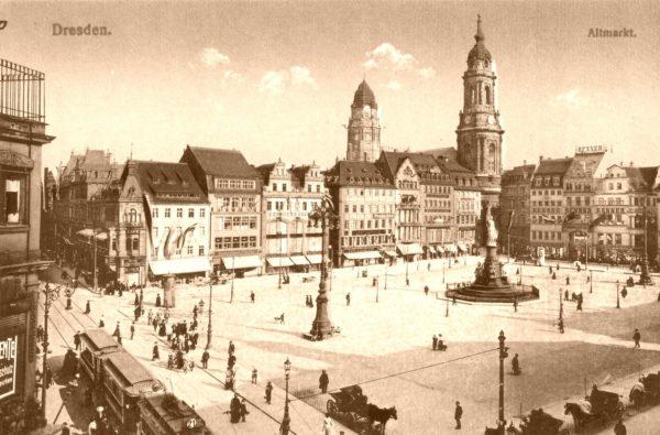 Altmarkt mit Straßenbahn im frühen 20. Jahrhundert - Postkarte Brück & Sohn-Kunstverlag