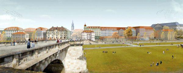 Visualisierung der Ansicht von der Augustusbrücke