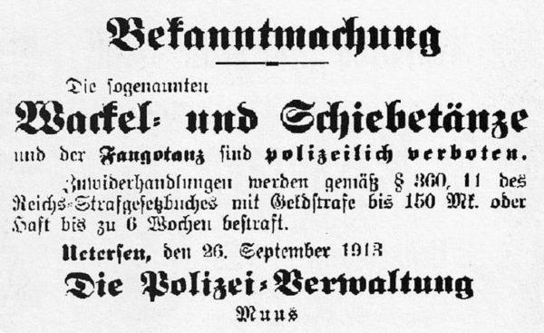 Zeitungsausschnitt Anfang des vergangenen Jahrhunderts