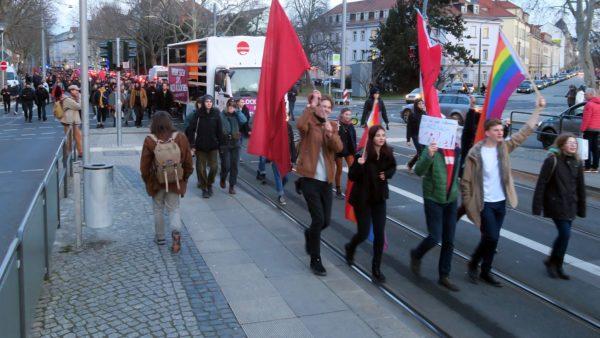 Demonstration am Albertplatz