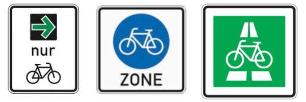 Neue Schilder: Grüner Pfeil für Radfahrer*innen, Fahrradzone und Radschnellweg. Grafik: Bundesanstalt für Straßenwesen