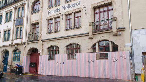 """Das Haus gehört zum historischen Ensemble von """"Pfunds Molkerei"""""""