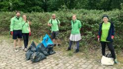 Mitglieder von Greenpeace reinigen die Elbwiesen. Foto: M. Lüdicke/Greenpeace Dresden.