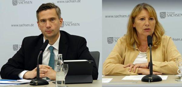 Wirtschaftsminister Martin Dulig (SPD) und Gesundheitsministerin Petra Köpping (SPD) erläuterten heute auf einer Pressekonferenz die neue Corona-Schutz-Verordnung
