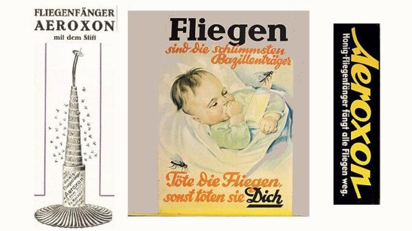 Fliegenklatsche: Anzeigen für Hilfsmittel gegen Fliegen von vor 100 Jahren