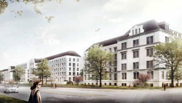 Geplante Wohnbauten an der Stauffenbergallee - Visualisierung: Lorenzen Architekten GmbH