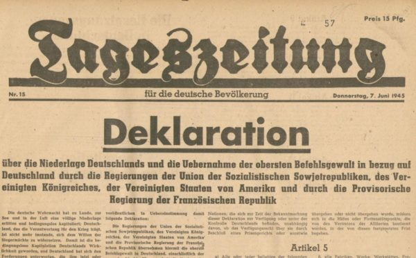 Titelseite der Tageszeitung für die deutsche Bevölkerung