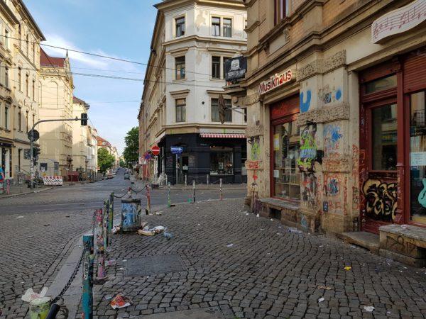 Die Ecke am frühen Sonntagmorgen.