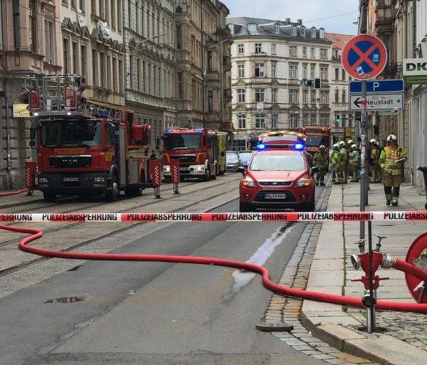 Die Hoyerswerdaer Straße war eine zeitlang komplett gesperrt.