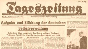 Tageszeitung für die deutsche Bevölkerung - Auschnitt vom 18. Juli 1945