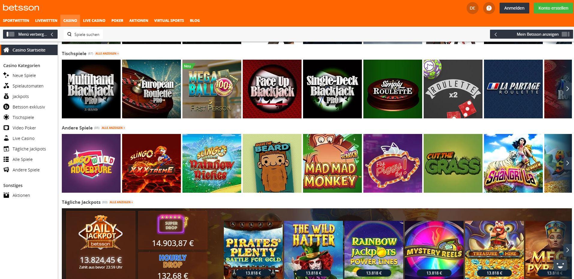 Casino ChiDas Spielangebot im Betsson Online Casino.40