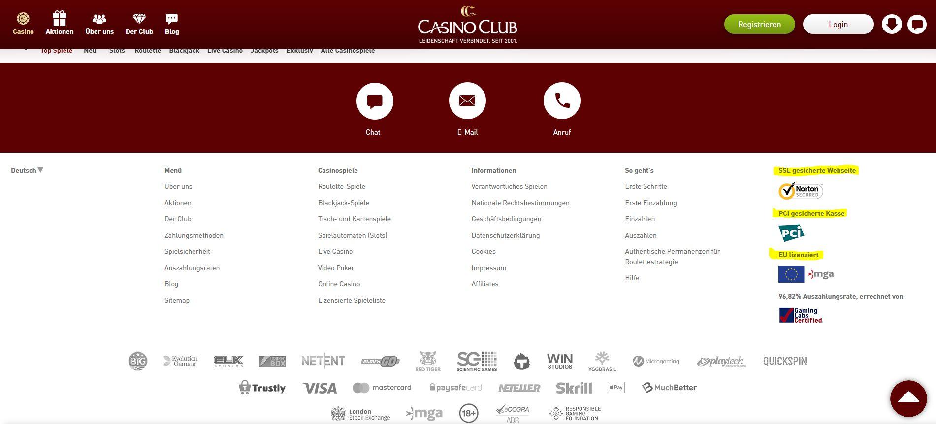 Der Footer des Online Anbieters CasinoClub.