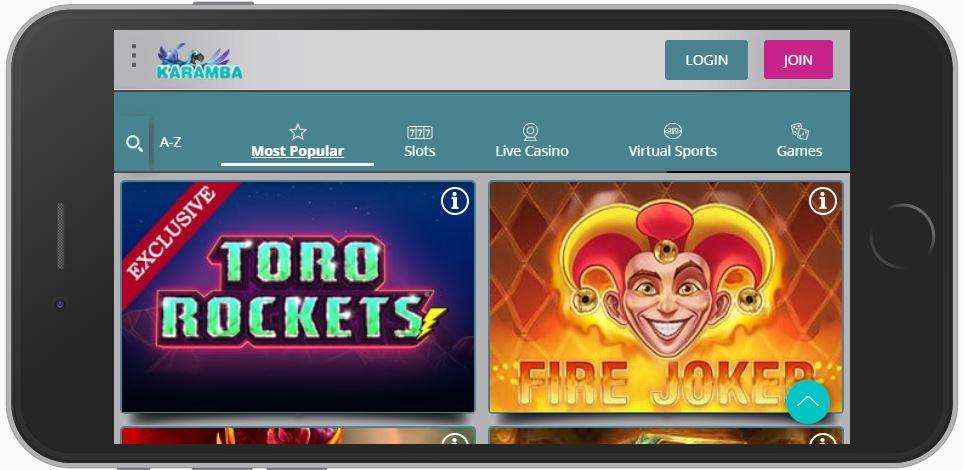 Die mobile Ansicht des Karamba Casinos.