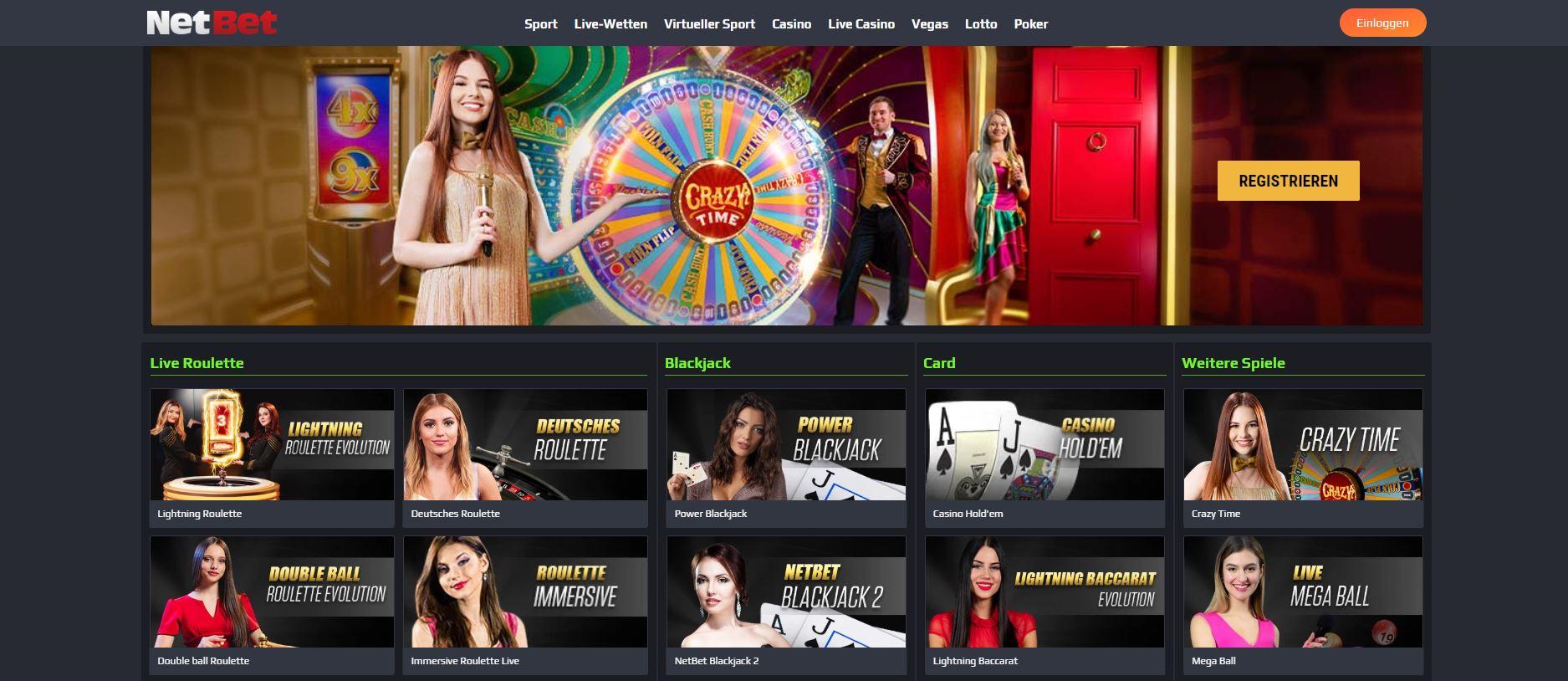 Der Live Dealer Bereich des NetBet Casinos.