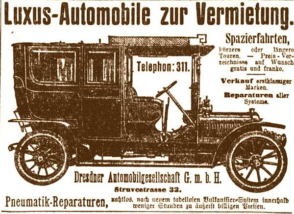 Automobilvermietung gab es schon vor 100 Jahren. Die Form ähnelt aktuellen SUVs - zumindest ein bisschen.