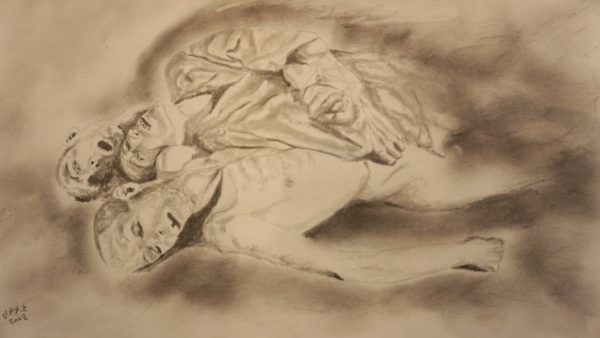 Komposition des Grauens, angelehnt an Bilder aus Ruanda.