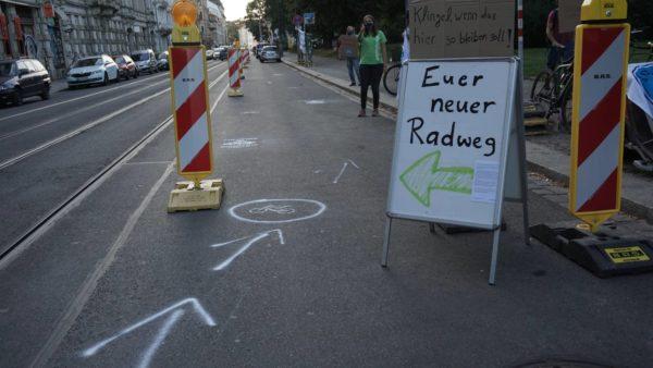 Später konnte der Radweg endlich in Betrieb genommen werden.