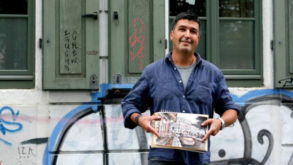 Der Künstler Rodrigo liebt es, die Neustadt zu zeichnen.
