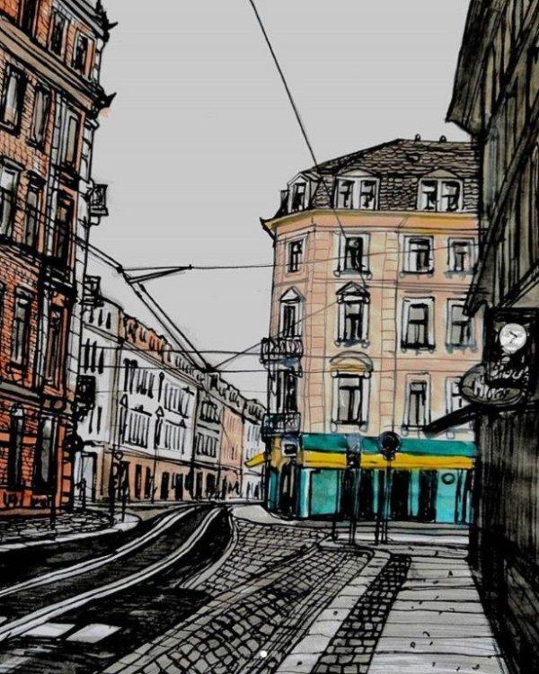 """Besonders die soziale Ecke oder """"schiefe Ecke"""" hat Rodrigo oft gezeichnet."""